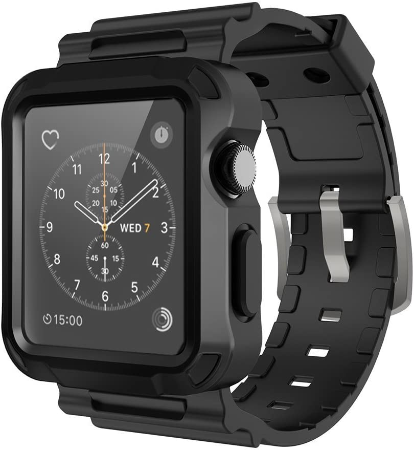 Simpeak Rugged Protective Case with Black Strap Bands Compatible with Apple Watch Series 3 Series 2 42mm, Black