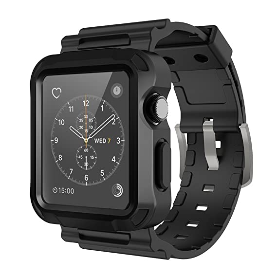 best authentic 2239c e5171 Simpeak Band for Apple Watch 3, Grey Rugged Protective Case with Black  Strap Bands for Apple Watch 42mm Series 1 Series 2 Series 3