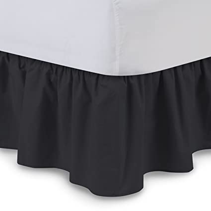 Amazon Com Ruffled Bedskirt Queen Black 18 Inch Bed Skirt With