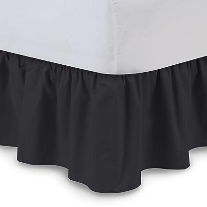 Amazon Com Ruffled Bed Skirt Twin Xl Black 21 Inch Drop Bedskirt