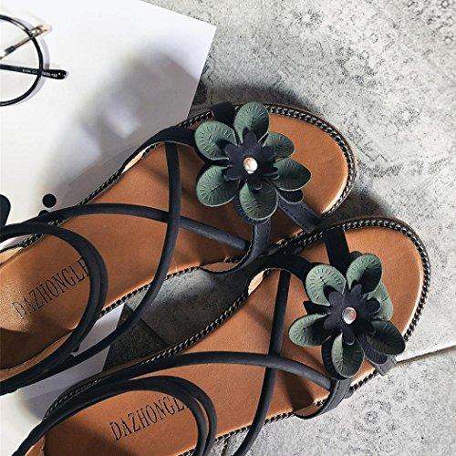 Cooljun Frauen Casual Blume Low Heel Anti Skidding Strand Schuhe Sandalen Peep-Toe Sandalen Black