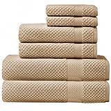 SALBAKOS : 6 piece Oviedo Bath Towel Set - 600gsm Premium Turkish Cotton (Beige)
