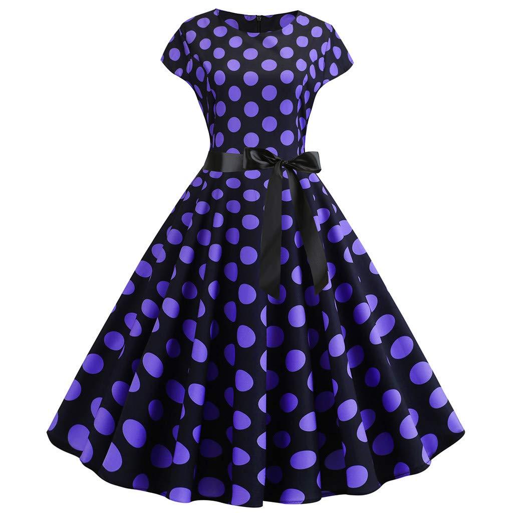 Nadition Ladies Classic Dress ✨Women Vintage 1950s Short Sleeve Dot Print Waist Belt Bow Evening Party Prom Swing Dress Purple