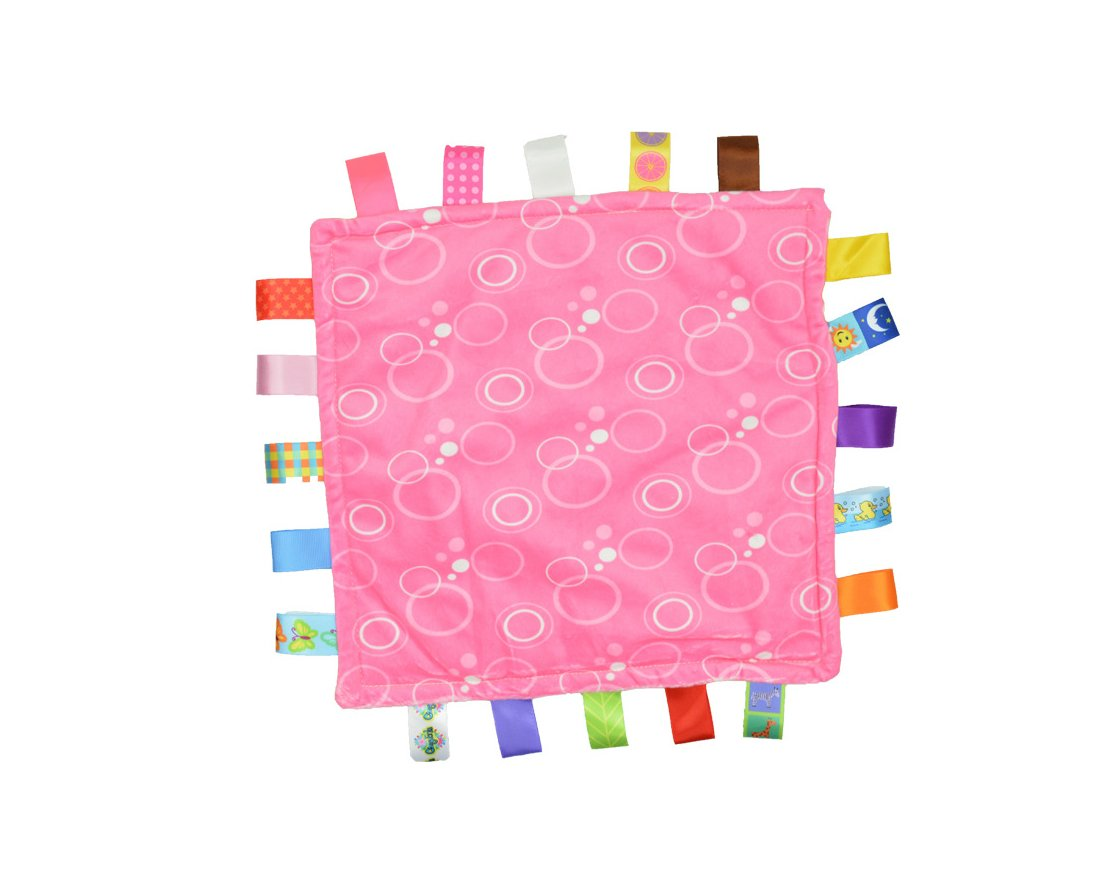J&C Family Owned 7Style 30cm Baby Comforting Taggies Blanket Super Soft Square Plush Baby Appease Towel Baby Toys Pink and Lime Green Theme