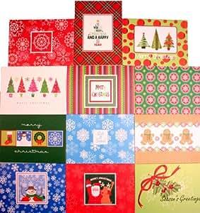 50 Christmas Holiday Greeting Note Cards & Envelopes Box Set (Blank Inside)
