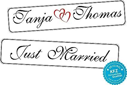 Original Kfz Kennzeichen Hochzeit Autoschilder Hochzeitsschilder Namensschilder Just Married Und Namen 0190 0010 Auto