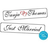 Original KFZ-Kennzeichen Hochzeit Autoschilder Hochzeitsschilder Namensschilder Just Married und Namen 0190-0010