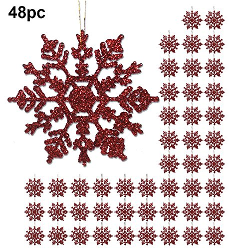 Red Snowflake Ornaments - 48 Pack of 4