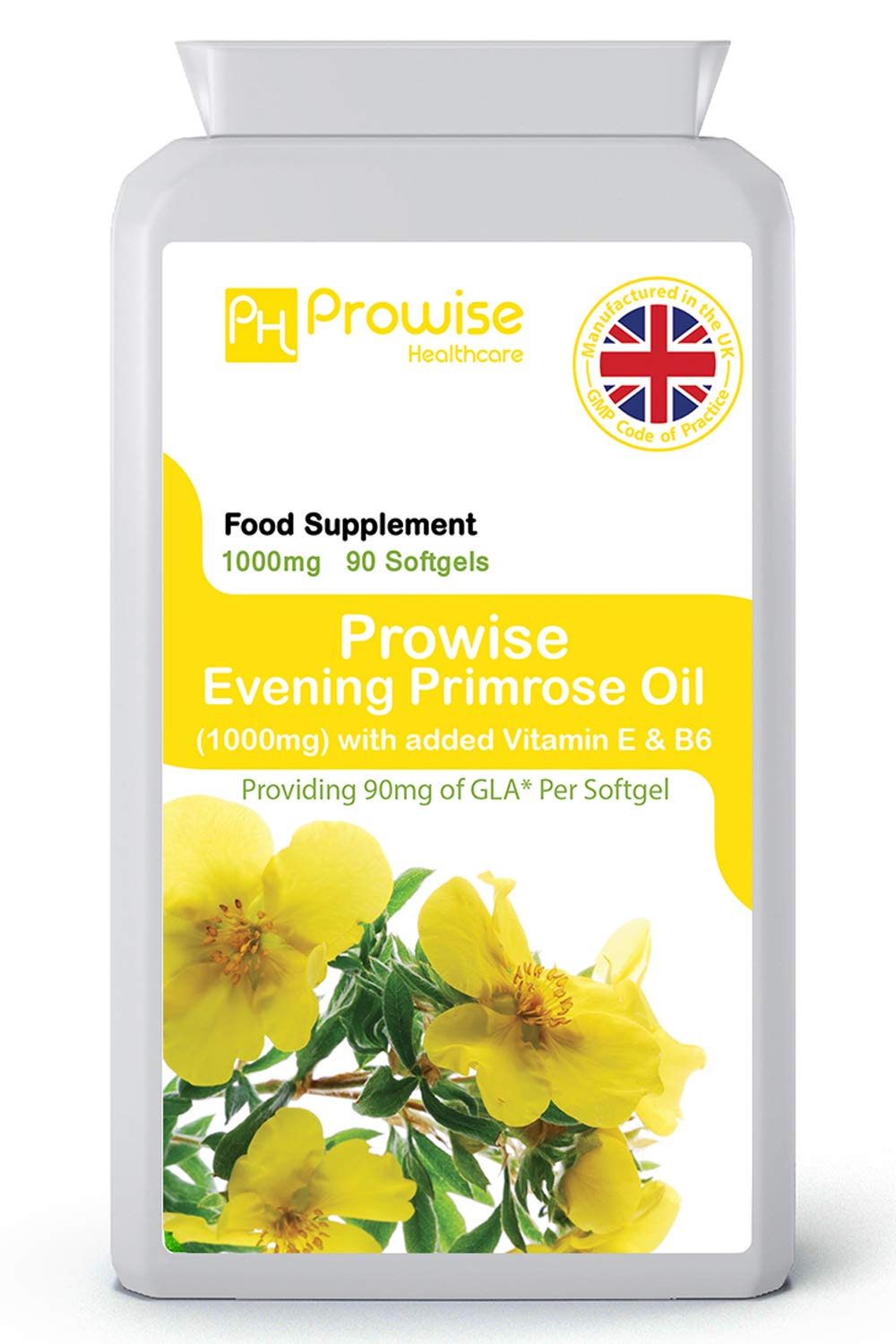 Evening Primrose Oil 1000mg Added with Vitamin E & B6 90 Softgels - UK Manufactured | GMP Standards by Prowise Healthcare
