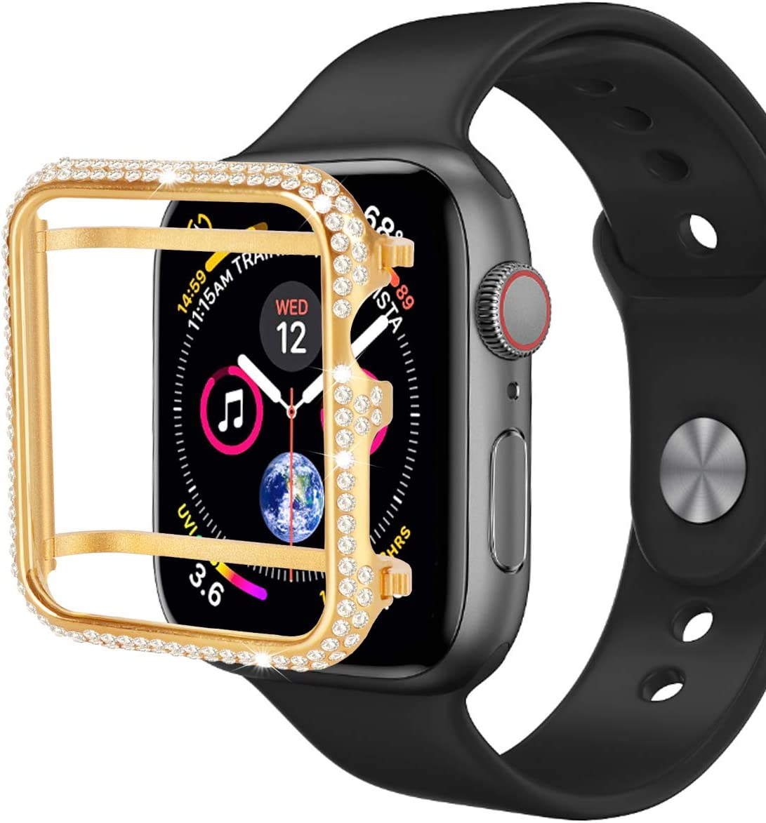 Hiseanllo Compatible with Apple Watch Case 42mm iWatch Bumper Protective Cover Crystal Rhinestone Bezel for Apple Watch Series 1, Series 2, Series 3 (Gold, 42mm)