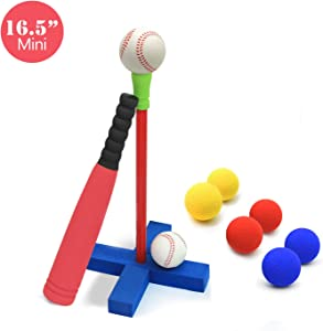 CELEMOON 16-Inch Kids Soft Foam T-Ball Baseball Set Toy, 8 Different Colored Balls, Carry/Organize Bag Included, for Kids Over 1 Years Old