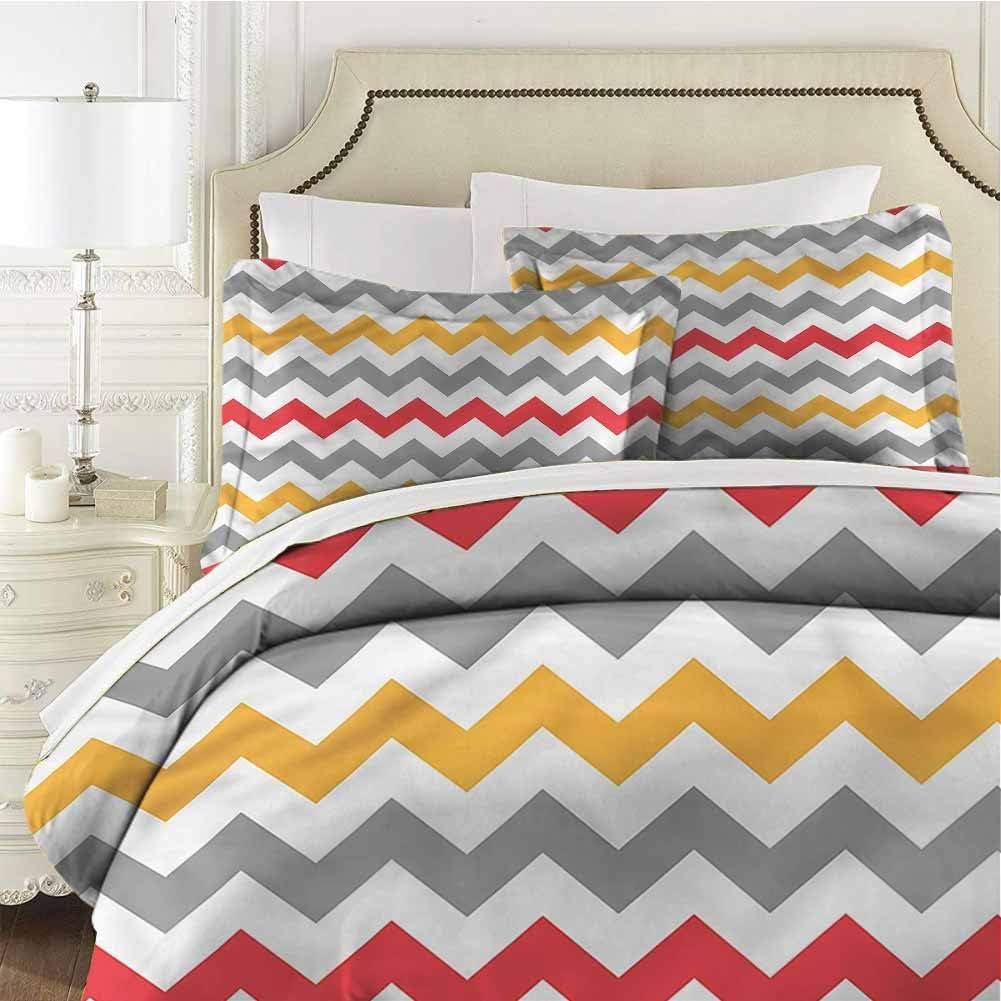 Chevron Comforter Bedding Set Abstract Retro Chevron Quenn (90x90 inches) - 3 Pieces (1 Duvet Cover + 2 Pillow Shams) - Ultra Soft and Breathable Comforter Cover