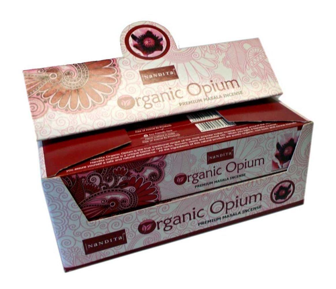 NANDITA ORGANIC OPIUM Premium Masala Incense Sticks - 15g Boxes (12)