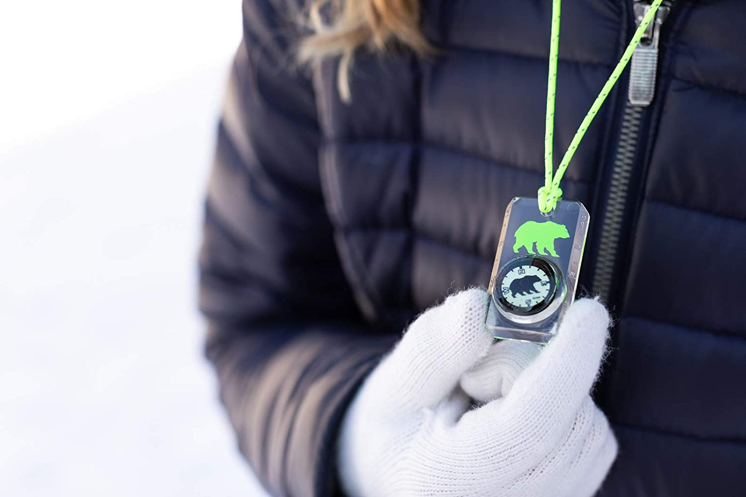 Break-Away Neon Lanyard Childrens Compass for Camping Hiking Sun Company Wildlife Compass for Kids and Exploring