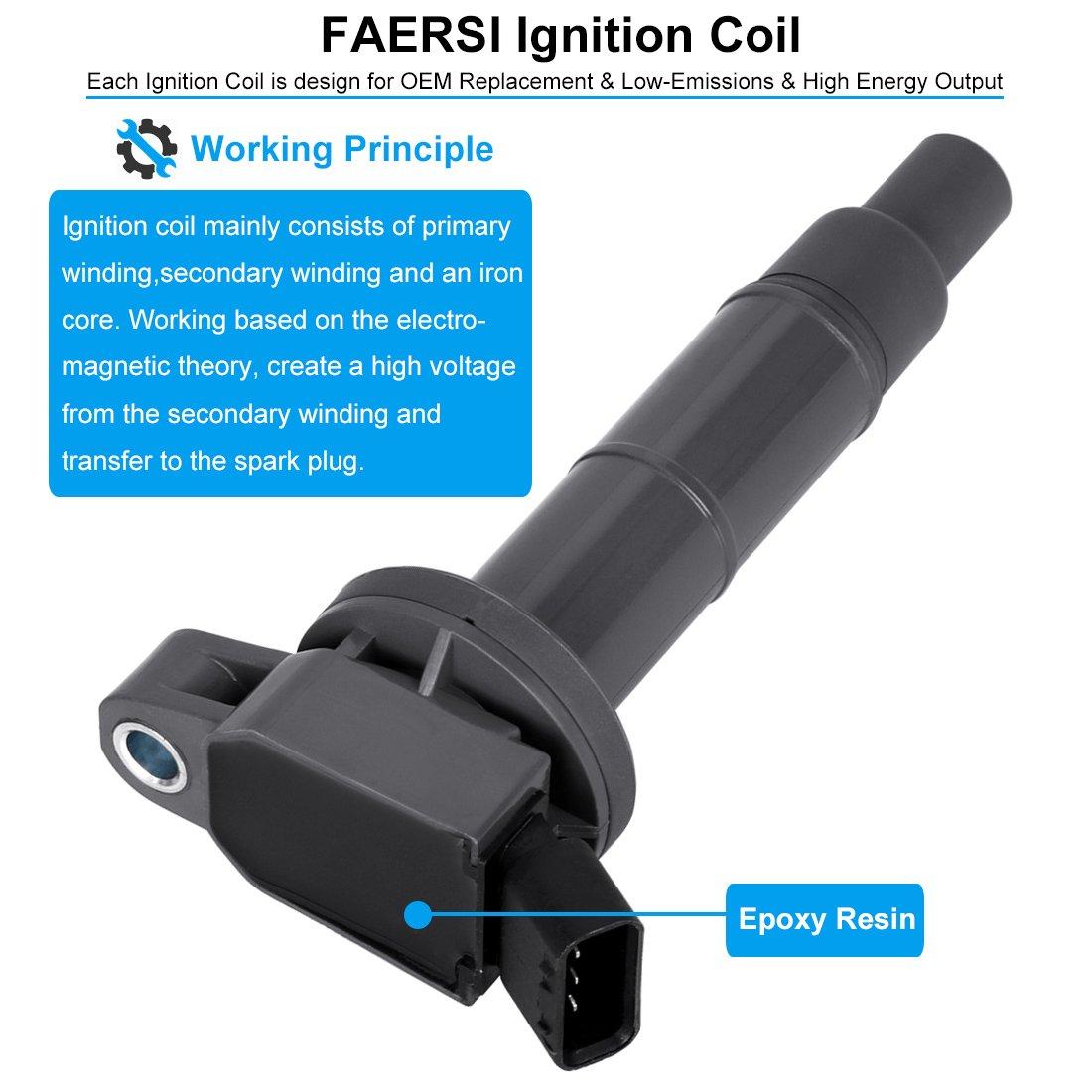 FAERSI Ignition Coil Pack of 4 Replaces OE# UF540 L3G218100A for L4-2006-2013 Mazda 3 2006-2013 Mazda 6 2007-2012 Mazda CX-7 2006-2015 Mazda MX-5 Miata 2 Yr Warranty