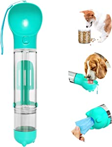 Esing Dog Water Bottle for Walking,Portable Puppy Drink Cup,17oz Pet Travel Water Bowl Dispenser with Food Containers&Garbage Bags