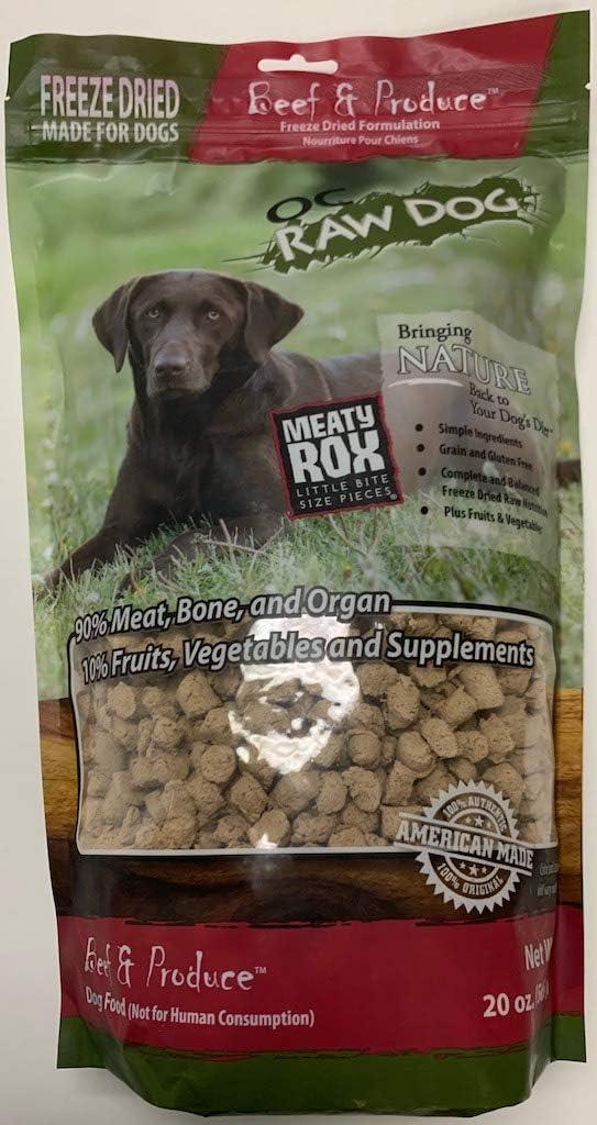 OC Raw Dog Freeze-Dried Beef Meaty Rox 20 Ounces