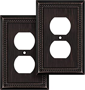 Sunken Pearls Decorative Wall Plate Switch Plate Outlet Cover (Single Duplex, 2 Pack, Aged Bronze)