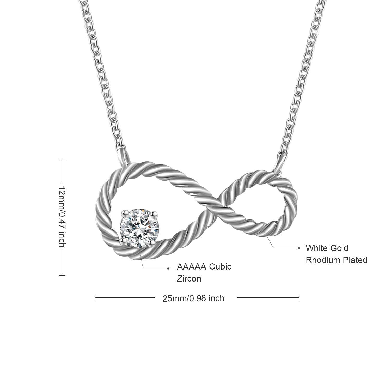 QUINBY 925 Sterling Silver Womens Infinity Necklace Gift with Cubic Zirconia Pendant Necklaces Jewelry Gifts for Girlfriend Lover Mom Anniversary Present Wife Chain Cord Necklace Personalized Gift