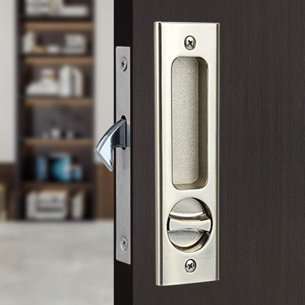 Sliding Barn Door Mortise Latch Lock Invisible Door Locks Handle with Keys for Sliding Barn Wooden Door Furniture Hardware 6.3 inches(Silver)
