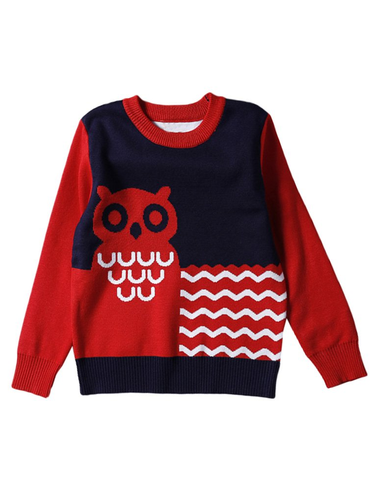 Mallimoda Boys Girls Long Sleeve Pullover Crewneck Unisex Owl Knit Sweater