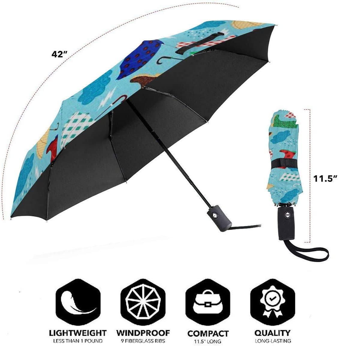 Rain Gear Umbrella Compact Rain/&Wind Repellent Umbrellas Sun Protection With Anti UV Coating Travel Auto Folding Umbrella