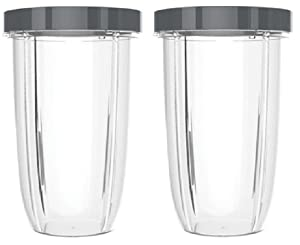 32oz Replacement Cups with Lip Ring for NutriBullet 600W and 900W Blenders (Pack of 2) by Preffered Parts