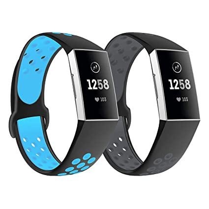 Yayuu Compatible Fitbit Charge 3 Bands,Soft Silicone Adjustable Sport  Casetify Band Watch Strap for Women Men Replacement Fitness Smart  Wristbands