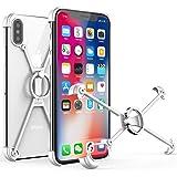 OATSBASF iphone x用バンパー アルミ リング付き ケース 超薄型 iphone x用ケース スタンド シンプル メタルフレーム シルバー (iPhone X用, 銀1)