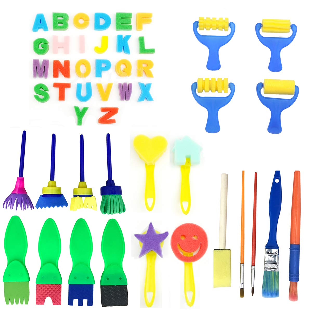 47 Pieces Sponge Painting Brushes Kit PERTTY Kids Art & Craft Kids Painting Kits
