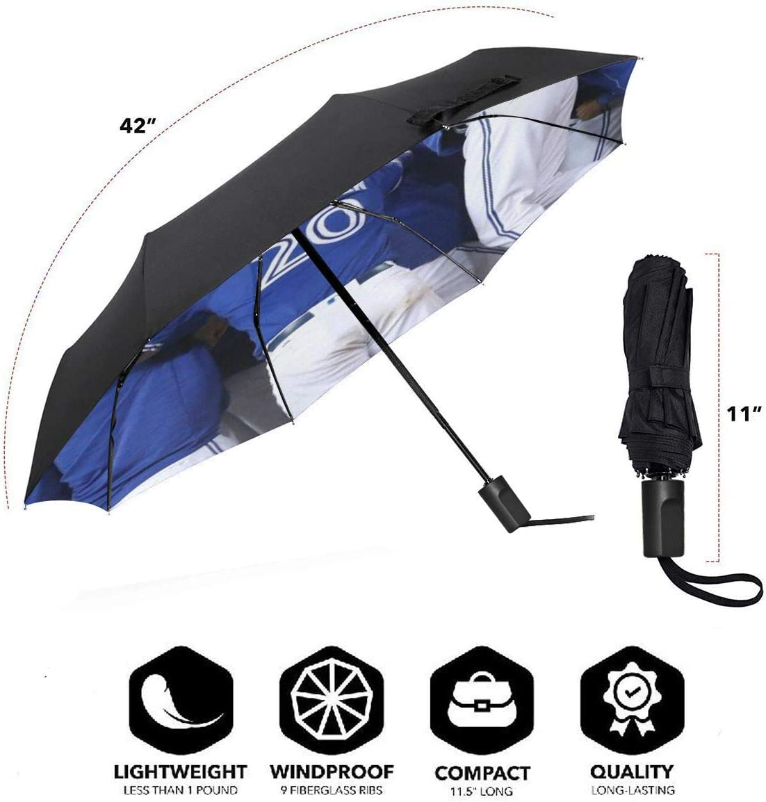 Lovesofun Portable Manual Umbrella Toron-to Blue Jay-s Compact Folding Business Umbrellas UV Protection Manual Tri-fold Umbrella for Men and Women