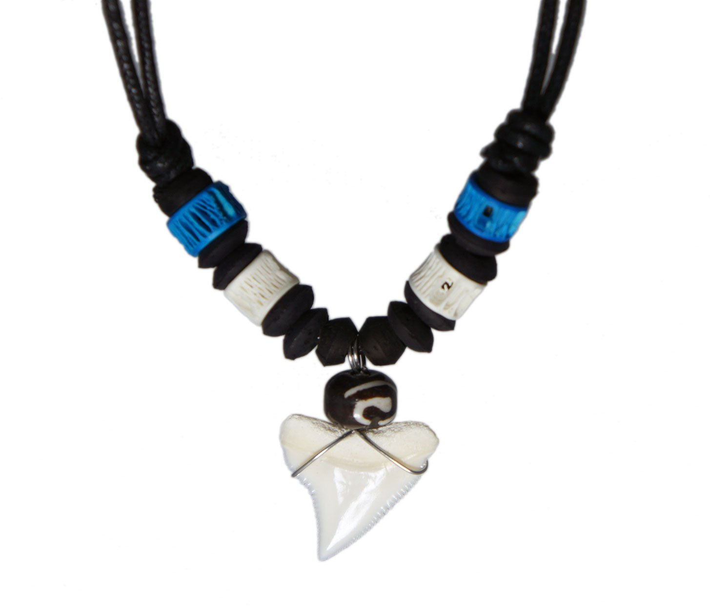 exoticdream Real Shark Tooth Necklace Surfer Hawaiian Beach – Color White Bone