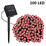 SOLMORE Solar String Lights, 55.8ft/17M 100 LED Solar Outdoor Fairy String Lights Starry Fairy Lights,Ambiance Lighting Waterproof for Holiday Wedding Gardens Home Party Patio Landscape Decor Red
