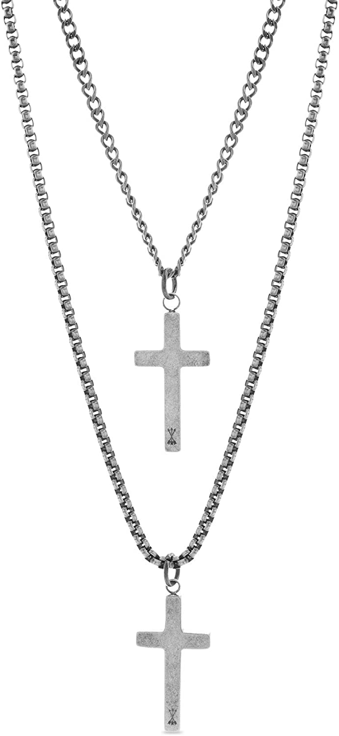 "Steve Madden 28"" Oxidized Stainless Steel Box and Curb Chain Cross Pendant Duo Necklace Set For Men"