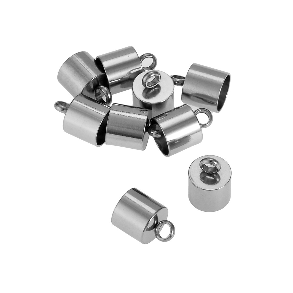 VALYRIA 10pcs Stainless Steel Smooth Cord End Crimps Finding DIY Supplies,11.6mmx9mm