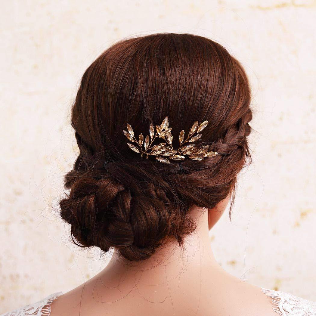 Gold crystal wedding hair pieceBridal gold champagne crystal hair pinsBaroque pearls hair accessoryWedding hair pins Set of 3 pins