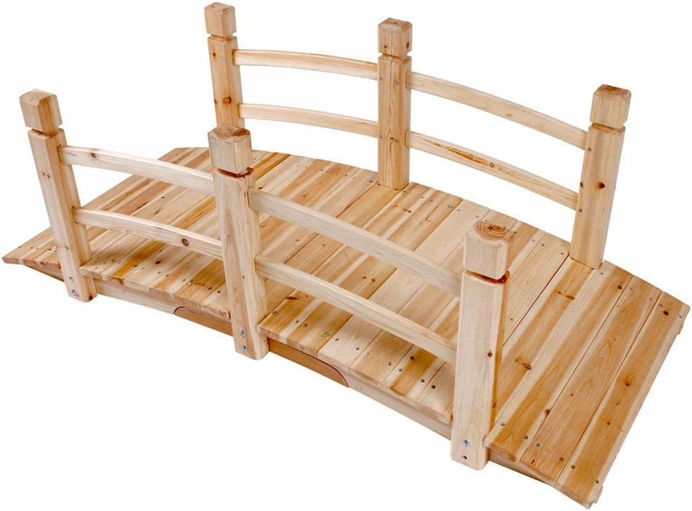 Festnight Ponte da Giardino Ponte Decorativo da Giardino in Pino Impregnato per Stagni Corsi d/'Acqua e Tracciamento di Confini 170x74 cm