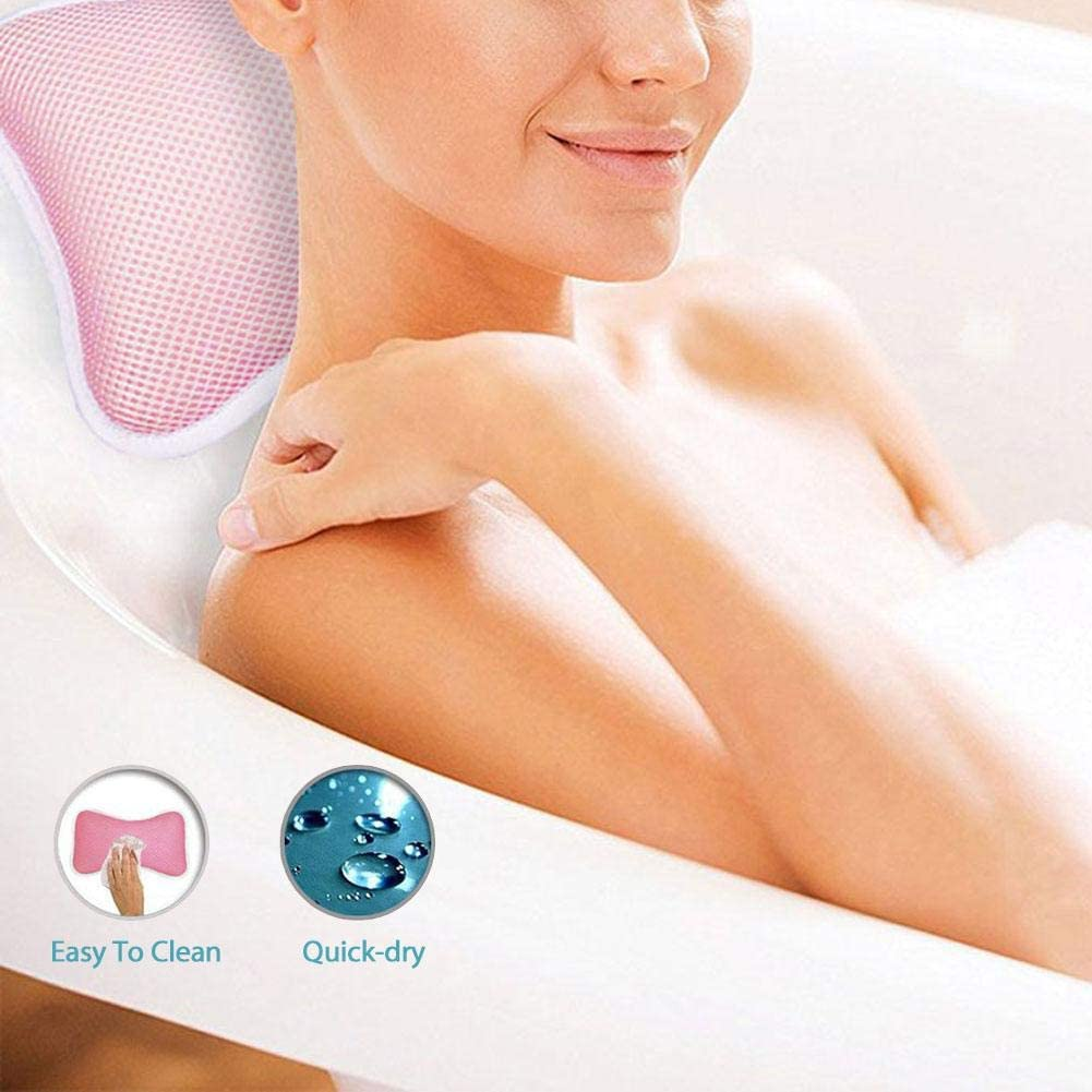 Firmly Attaches to Bathtub Bath Pillows for Head and Neck with 2 Large Suction Cups Head Holder Bath Pillow Jacuzzi Bath Cushion Nape