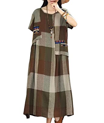 2aac5500c72 YESNO Women Fashion Long Maxi Dress Plaid Linen Dress Large Loose Swing  Pockets Y61
