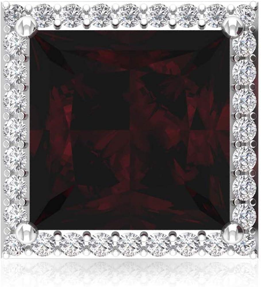 Pendientes de tuerca de granate de 4 quilates, con piedra preciosa de corte princesa, certificado IGI, pendientes de dama de honor, IJ-SI, pendientes de boda de diamantes, tornillo hacia atrás