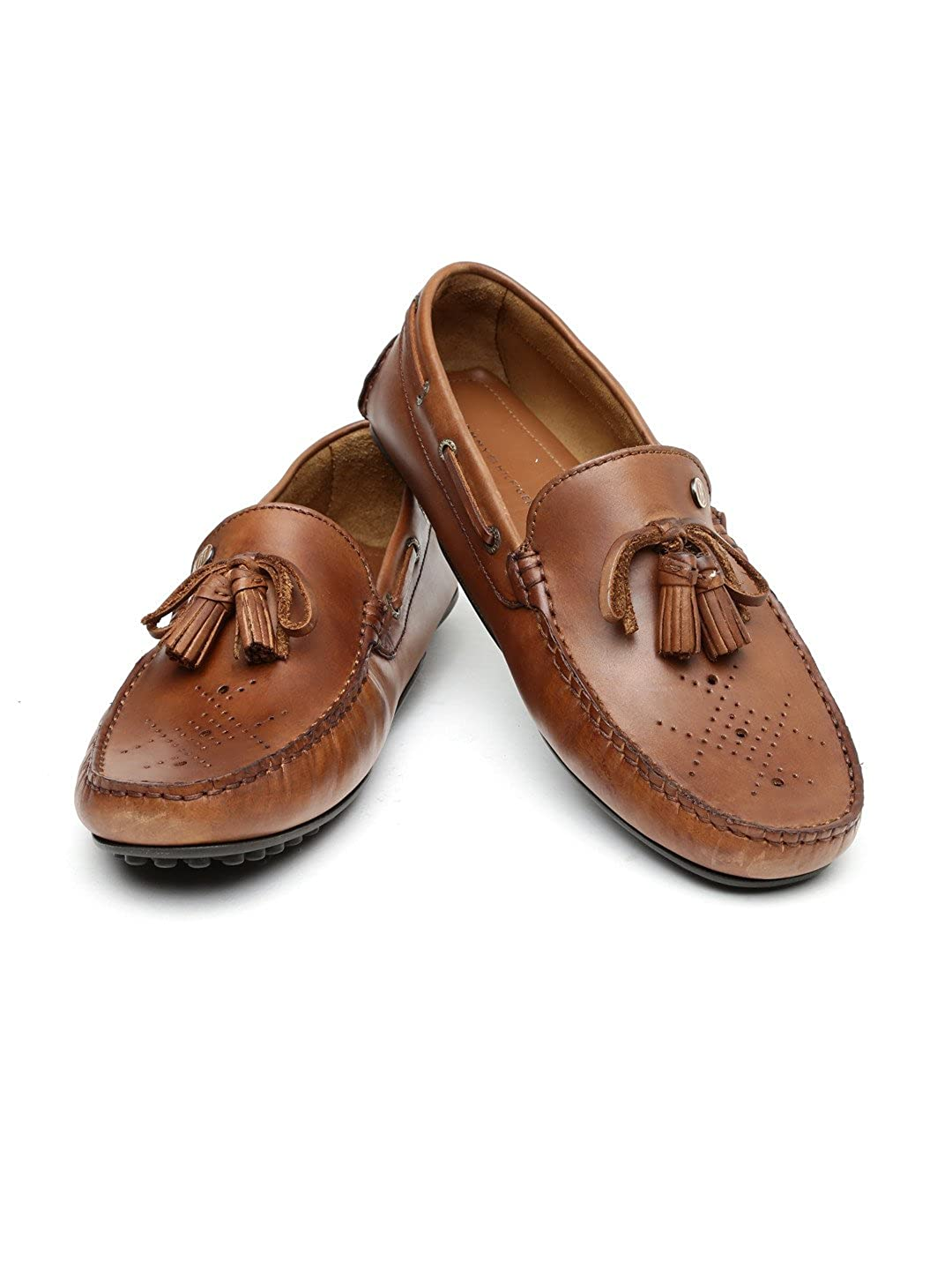 1e39651f6b9b Tommy Hilfiger Men Brown Solid Leather Tassel Loafers (10)  Buy Online at  Low Prices in India - Amazon.in