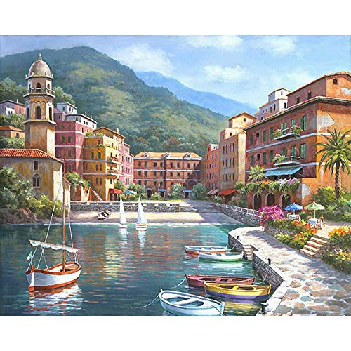 (JUNSZYH DIY Oil Painting,European Beautiful Coastal Scenery,Oil Paint Painting by Numbers DIY Picture Drawing Coloring On Canvas Painting by Hand Wall Paint by Number,40X50Cm DIY Frame)