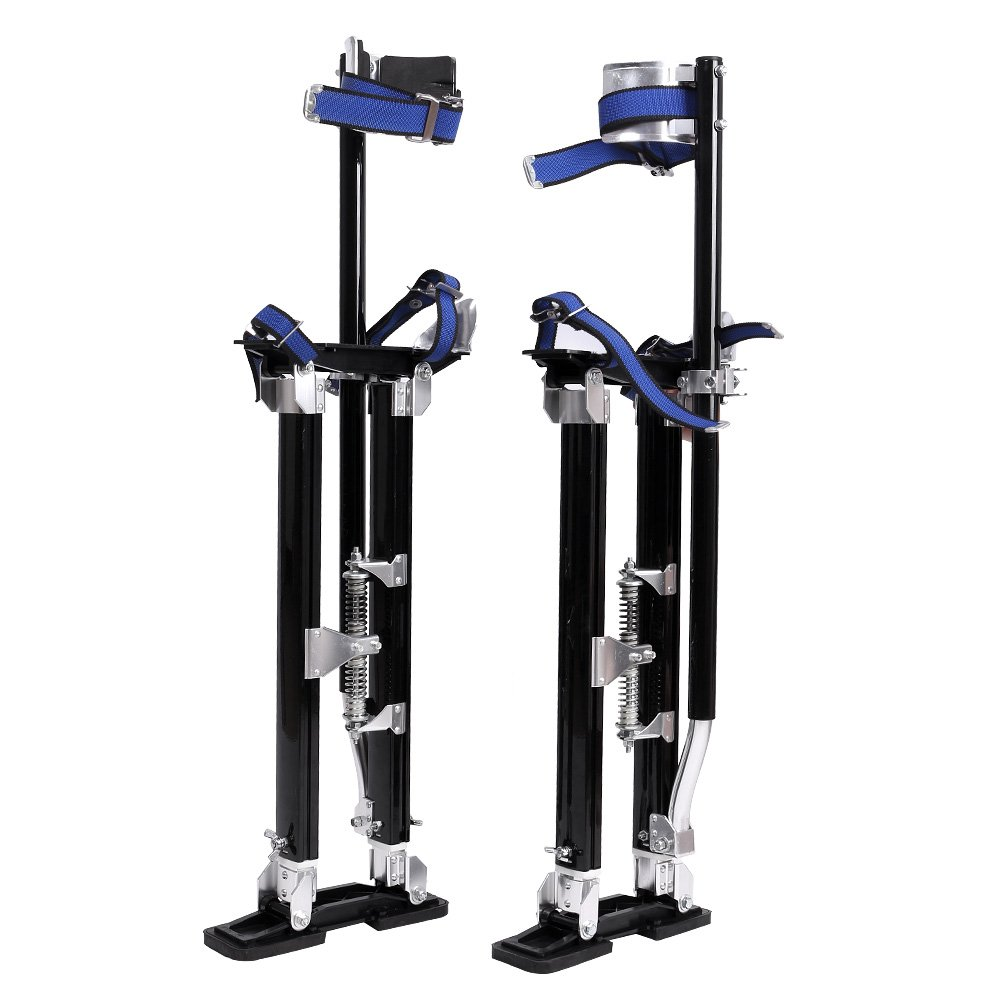 Mallofusa Drywall Stilts 24 - 40 Inch Aluminum Tool Stilt for Painting Painter Taping Black