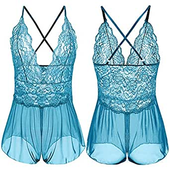Wiwsi Women Sexy Halter Teddies Floral Lace Babydoll Lingerie V Neck Bodysuit (XL, Light Blue)