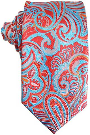 Red and Turquoise Paisley Silk Tie and Pocket Square . Paul Malone Red Line