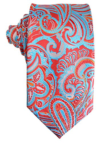 Red and Turquoise Paisley Silk Tie and Pocket Square . Paul Malone Red (Red Paisley Necktie)