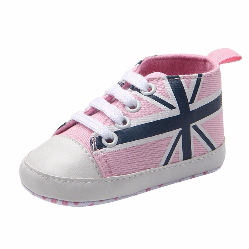 Moonker Newborn Infant Baby Boy Girl Union Jack Flag Print Sneaker Canvas Anti-Slip Soft Walking Shoes 0-12Month