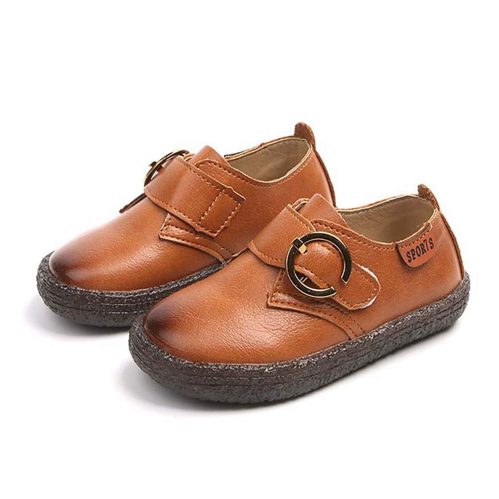 F-OXMY Kids Soft Rubber Outsole Slip-On Oxfords Dress Shoes Boys Non-Slip Casual Shoes Brown
