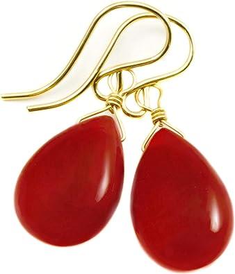 Carnelian Earrings Orange Chalcedony Earrings Women/'s Statement Jewelry Colorful Teardrops Gifts for Her Orange Gemstone Earrings