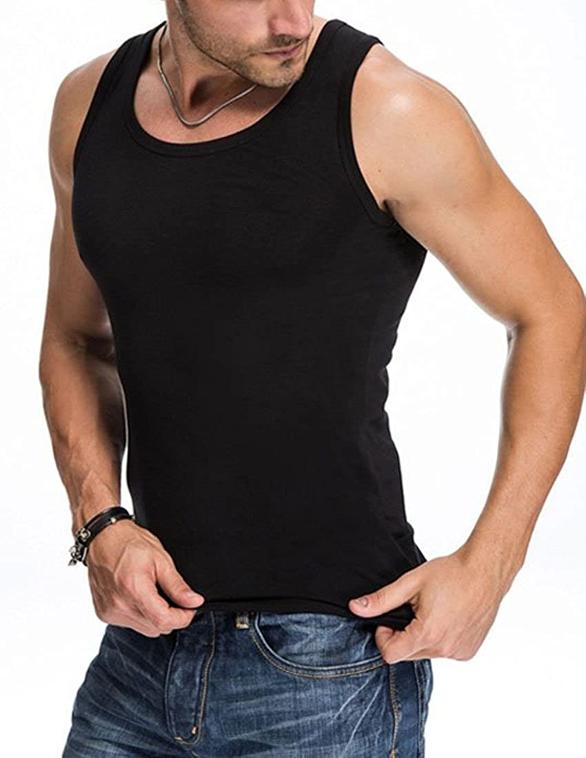 Nidicus Mens Classic A-Shirt Basic Fit Cotton Pure Muscle Jersey Tank Top Black